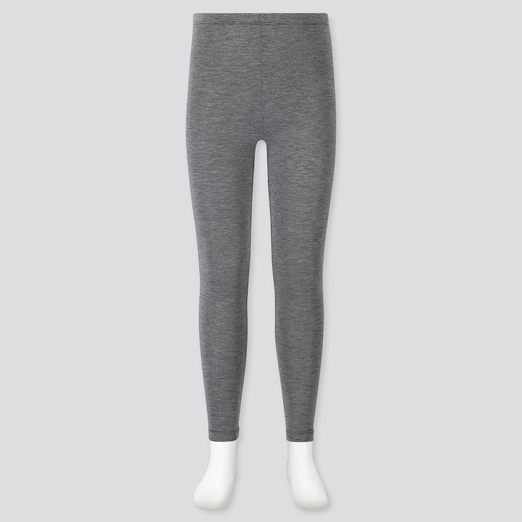 KIDS HEATTECH LEGGINGS, DARK GRAY, large