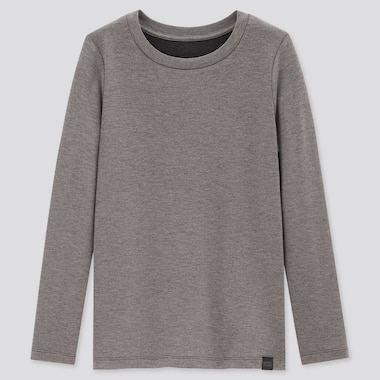 KIDS HEATTECH EXTRA WARM CREW NECK T-SHIRT, DARK GRAY, medium