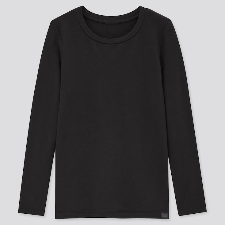 KIDS HEATTECH EXTRA WARM CREW NECK T-SHIRT, BLACK, large
