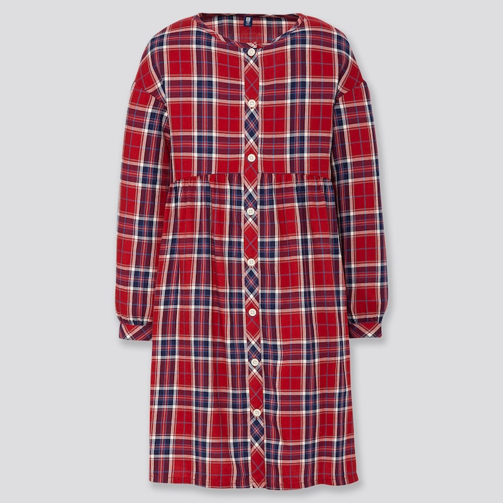 GIRLS FLANNEL CHECKED LONG-SLEEVE DRESS, RED, large