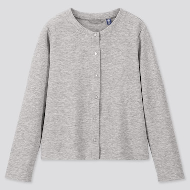 GIRLS DRY STRETCH CREW NECK LONG-SLEEVE CARDIGAN, GRAY, medium