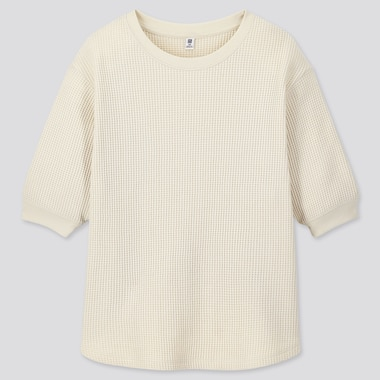 GIRLS WAFFLE KNIT CREW NECK HALF SLEEVED T-SHIRT