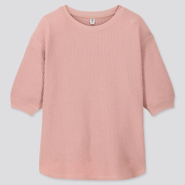 GIRLS WAFFLE CREW NECK HALF-SLEEVE T-SHIRT, PINK, medium