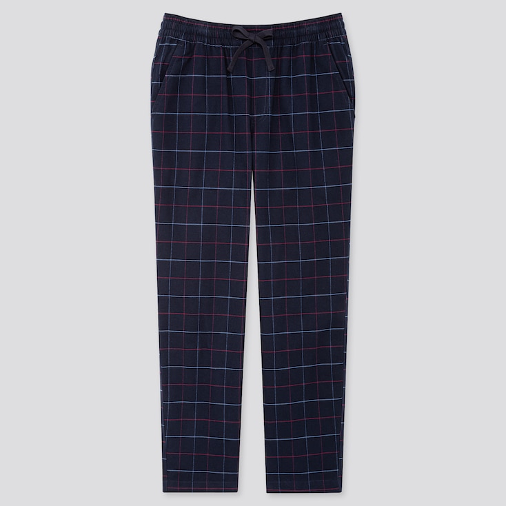 Men Flannel Easy Pants, Navy, Large