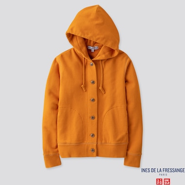 WOMEN LONG-SLEEVE SWEAT HOODIE JACKET (INES DE LA FRESSANGE), ORANGE, medium