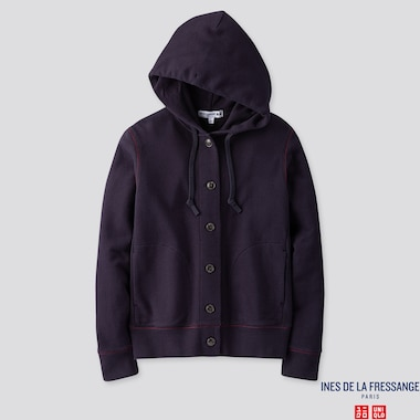WOMEN LONG-SLEEVE SWEAT HOODIE JACKET (INES DE LA FRESSANGE), NAVY, medium