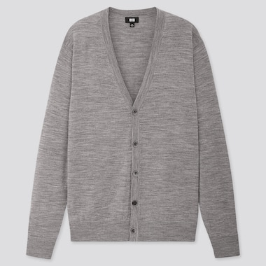Men Extra Fine Merino V-Neck Long-Sleeve Cardigan, Gray, Medium