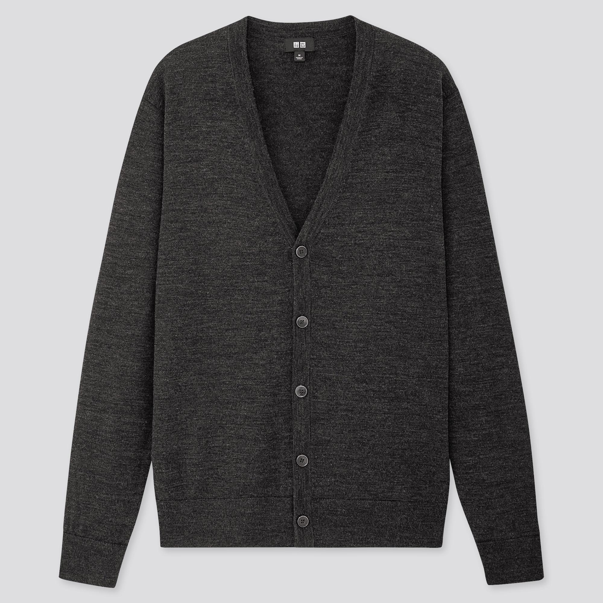 Men 100% Extra Fine Merino Wool V Neck Cardigan
