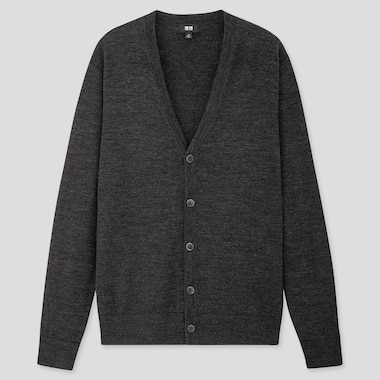 Men Extra Fine Merino V-Neck Long-Sleeve Cardigan, Dark Gray, Medium