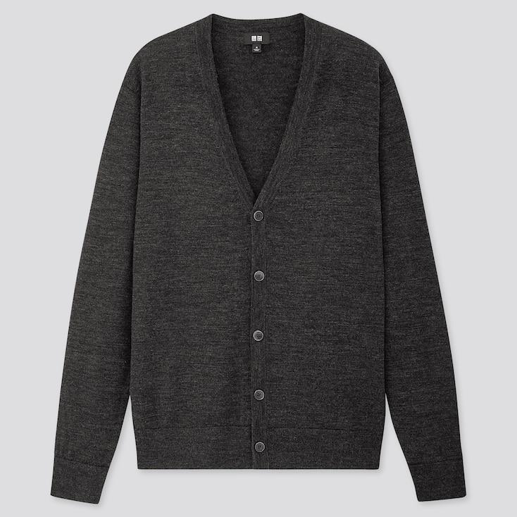 Men Extra Fine Merino V-Neck Long-Sleeve Cardigan, Dark Gray, Large