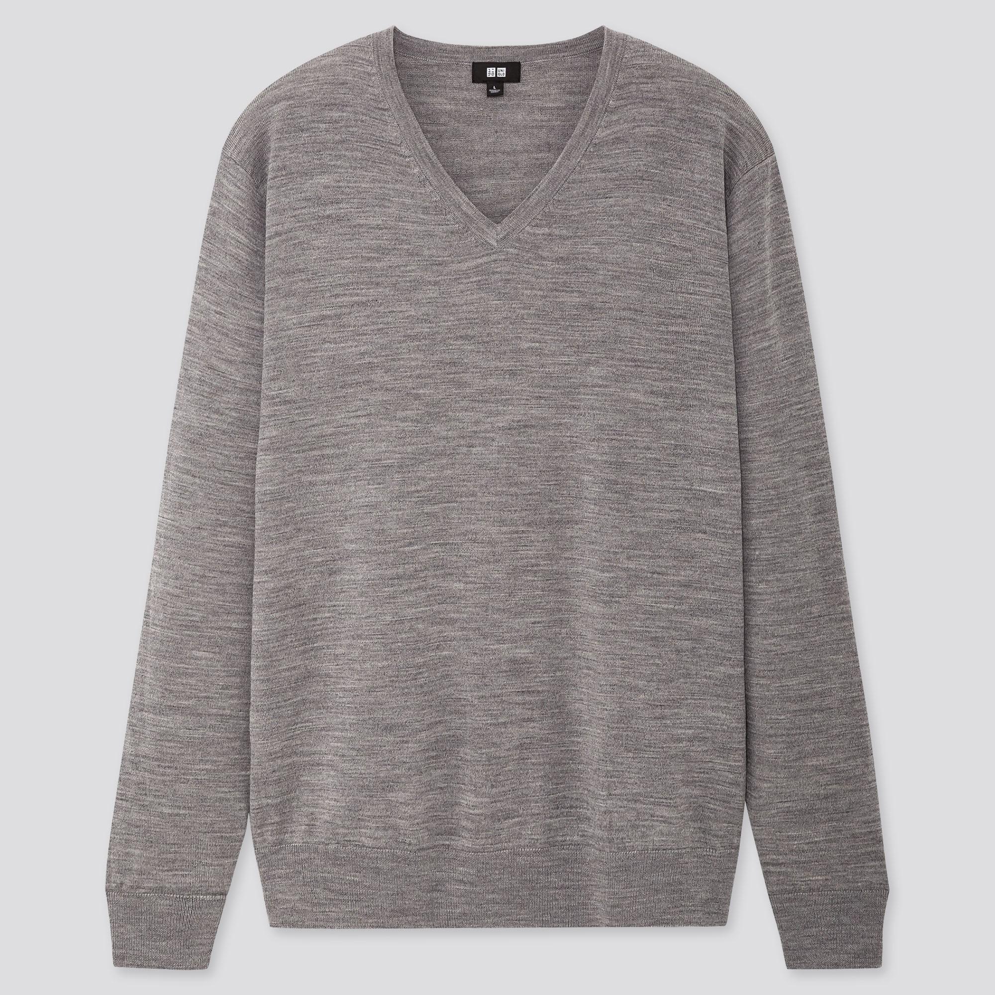 men extra fine merino v-neck long-sleeve sweater