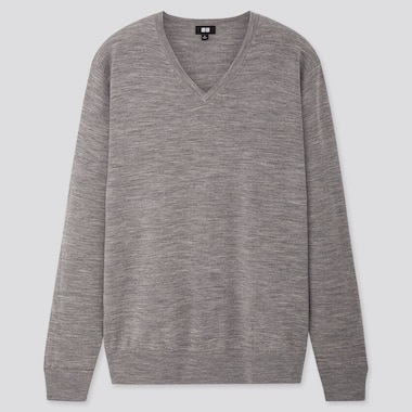 Men 100% Extra Fine Merino Wool V Neck Jumper