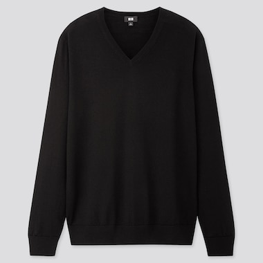 MEN EXTRA FINE MERINO V-NECK LONG-SLEEVE SWEATER, BLACK, medium