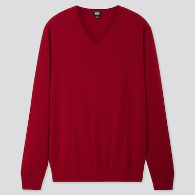 MEN EXTRA FINE MERINO V-NECK LONG-SLEEVE SWEATER, RED, medium