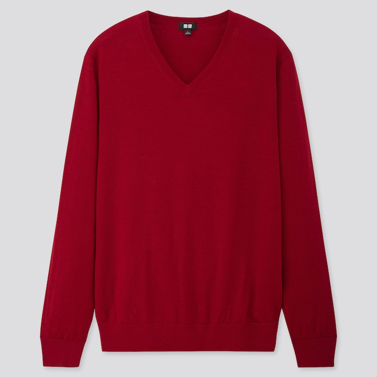 MEN EXTRA FINE MERINO V-NECK LONG-SLEEVE SWEATER, RED, large