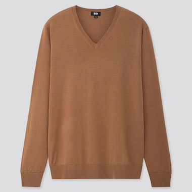 MEN EXTRA FINE MERINO V-NECK LONG-SLEEVE SWEATER, BROWN, medium