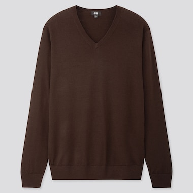 Men Extra Fine Merino V-Neck Long-Sleeve Sweater, Dark Brown, Medium