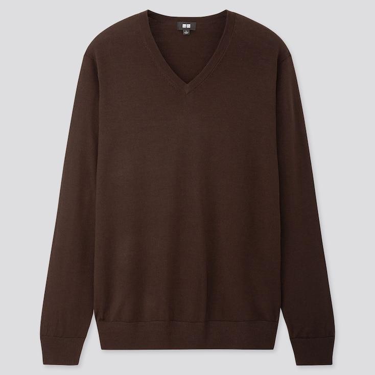 Men Extra Fine Merino V-Neck Long-Sleeve Sweater, Dark Brown, Large