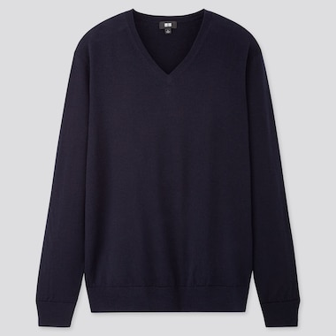 Men Extra Fine Merino V-Neck Long-Sleeve Sweater, Navy, Medium