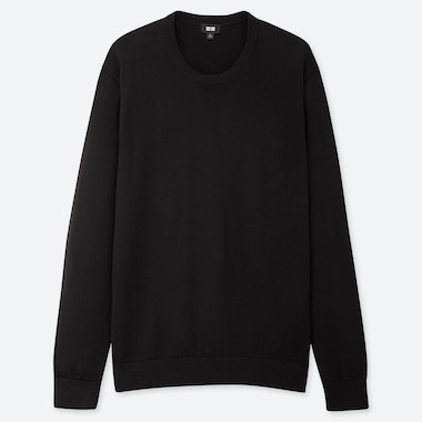 MEN EXTRA FINE MERINO CREW NECK LONG-SLEEVE SWEATER, BLACK, medium