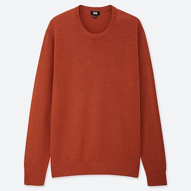 Men Extra Fine Merino Crew Neck Long-Sleeve Sweater, Orange, Medium