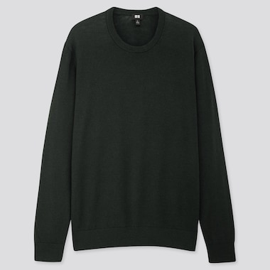 MEN EXTRA FINE MERINO CREW NECK LONG-SLEEVE SWEATER, DARK GREEN, medium