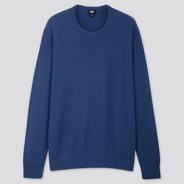 MEN EXTRA FINE MERINO CREW NECK LONG-SLEEVE SWEATER, BLUE, medium