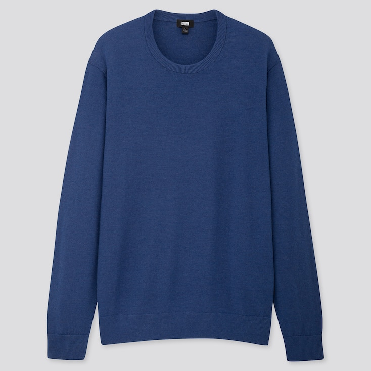 Men Extra Fine Merino Crew Neck Long-Sleeve Sweater, Blue, Large
