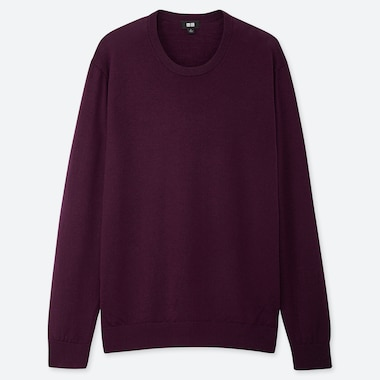MEN EXTRA FINE MERINO CREW NECK LONG-SLEEVE SWEATER, PURPLE, medium