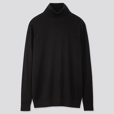 MEN EXTRA FINE MERINO TURTLENECK LONG-SLEEVE SWEATER, BLACK, medium
