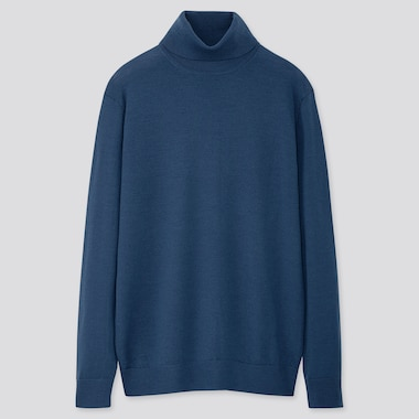 MEN EXTRA FINE MERINO TURTLENECK LONG-SLEEVE SWEATER, BLUE, medium