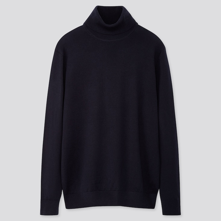 MEN EXTRA FINE MERINO TURTLENECK LONG-SLEEVE SWEATER, NAVY, large