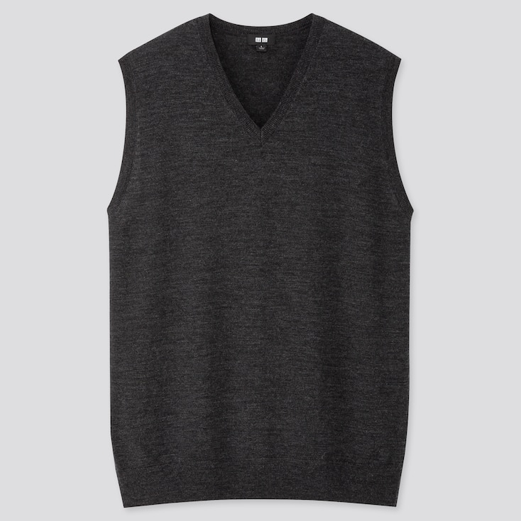 MEN EXTRA FINE MERINO V-NECK VEST, DARK GRAY, large