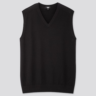 MEN EXTRA FINE MERINO V-NECK VEST, BLACK, medium
