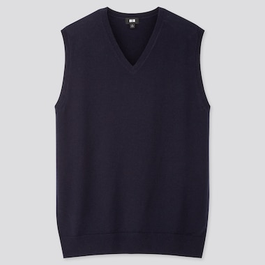 MEN EXTRA FINE MERINO V-NECK VEST, NAVY, medium