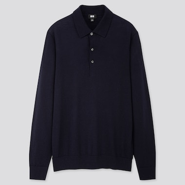 MEN EXTRA FINE MERINO KNIT LONG-SLEEVE POLO SHIRT, NAVY, medium