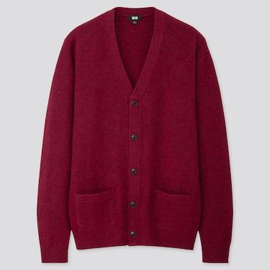 Men Premium Lambswool V-Neck Long-Sleeve Cardigan, Wine, Medium