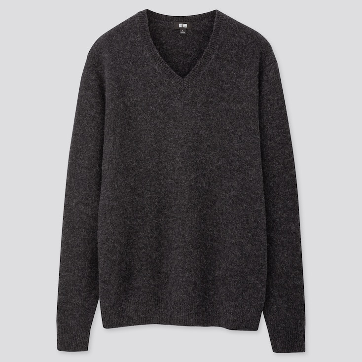 Men Premium Lambswool V-Neck Long-Sleeve Sweater, Dark Gray, Large
