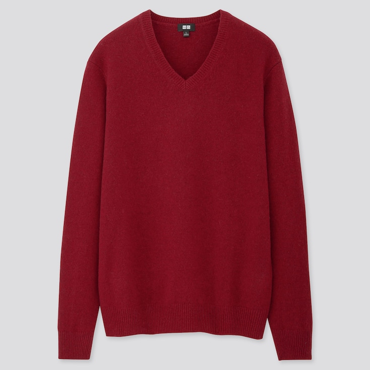 MEN PREMIUM LAMBSWOOL V-NECK LONG-SLEEVE SWEATER, RED, large