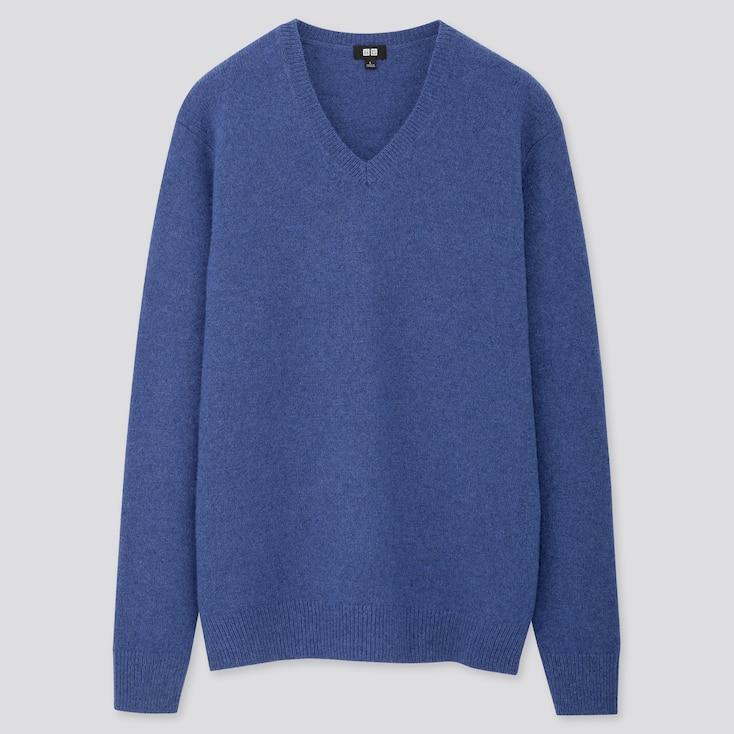 MEN PREMIUM LAMBSWOOL V-NECK LONG-SLEEVE SWEATER, BLUE, large