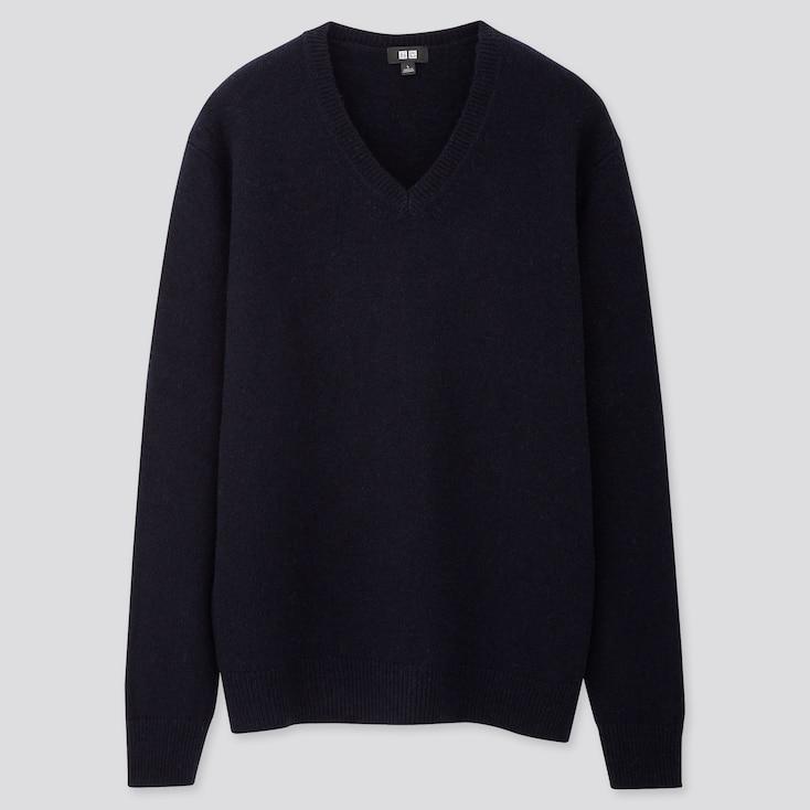 Men Premium Lambswool V-Neck Long-Sleeve Sweater, Navy, Large