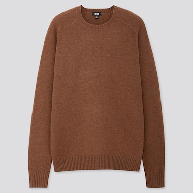 MEN PREMIUM LAMBSWOOL CREW NECK LONG-SLEEVE SWEATER, BROWN, medium