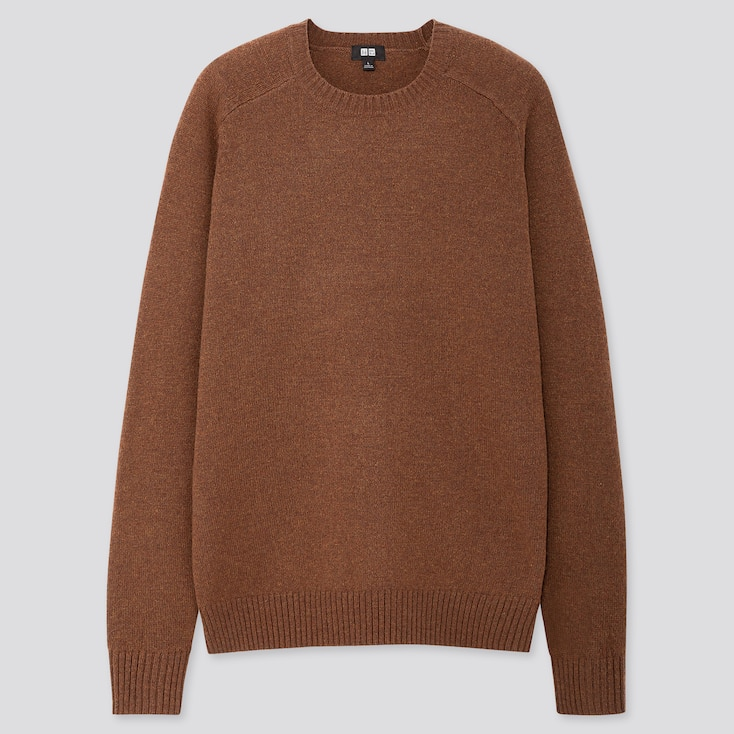 Men Premium Lambswool Crew Neck Jumper by Uniqlo