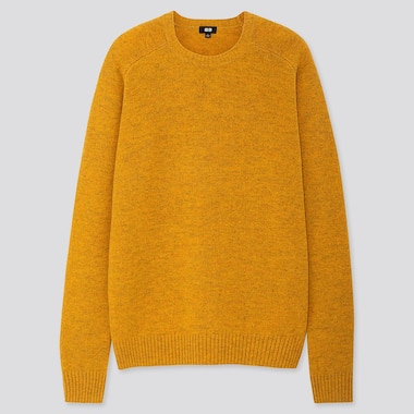 Men Premium Lambswool Crew Neck Long-Sleeve Sweater, Yellow, Medium