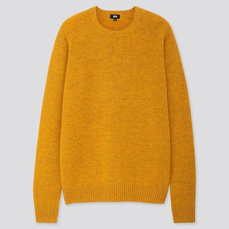 Men Premium Lambswool Crew Neck Long-Sleeve Sweater, Yellow, Large