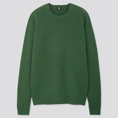 MEN PREMIUM LAMBSWOOL CREW NECK LONG-SLEEVE SWEATER, GREEN, medium