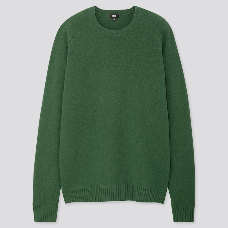 Men Premium Lambswool Crew Neck Long-sleeve Sweater, Green, Large