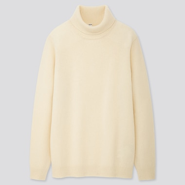 MEN PREMIUM LAMBSWOOL TURTLENECK LONG-SLEEVE SWEATER, OFF WHITE, medium