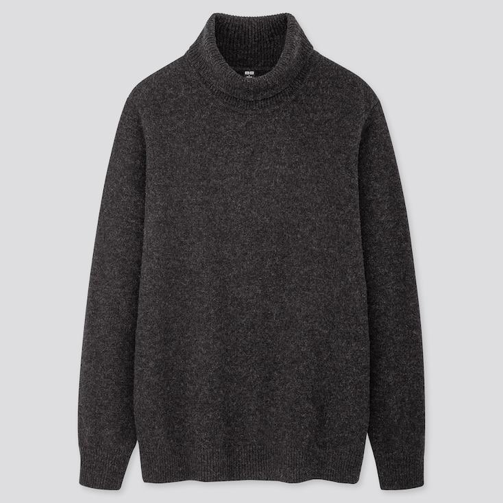 Men Premium Lambswool Turtleneck Long-sleeve Sweater, Dark Gray, Large