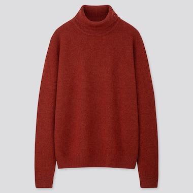 Men Premium Lambswool Turtleneck Long-Sleeve Sweater, Orange, Medium